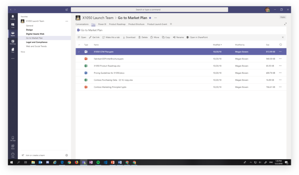 Creating a new tab in a Microsoft Teams channel