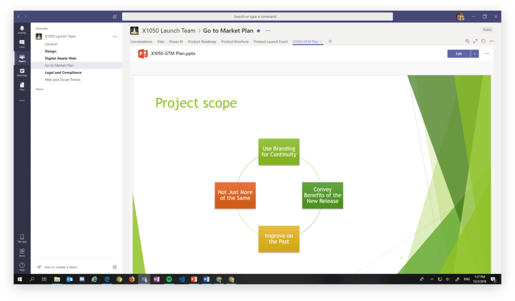 Microsoft Teams tab view