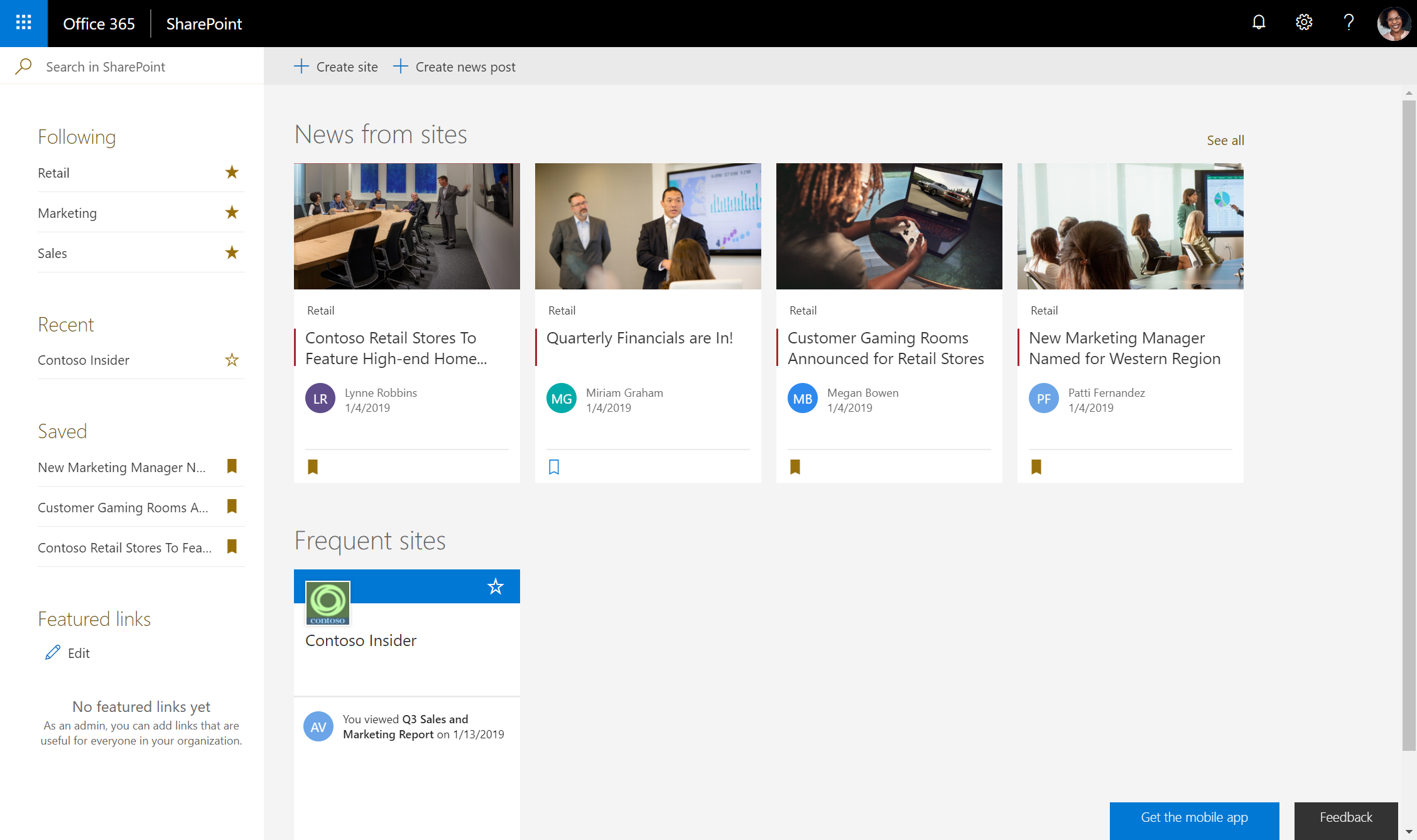 Modern SharePoint news UI