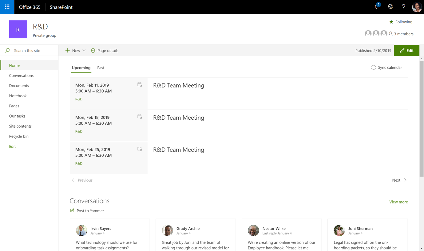 Exchange Calendar and Yammer integration in a modern SharePoint team site