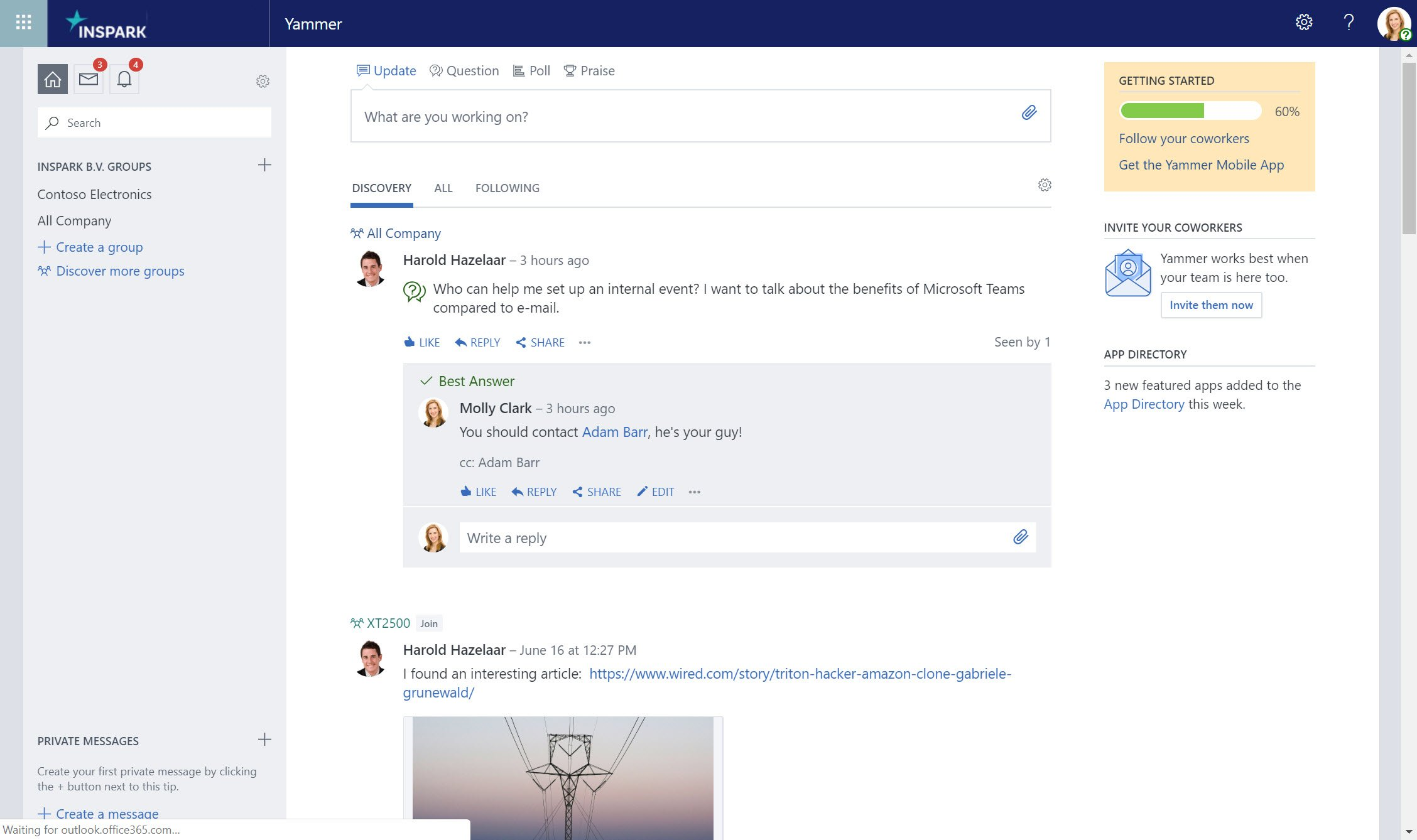 Yammer now lets you post questions.
