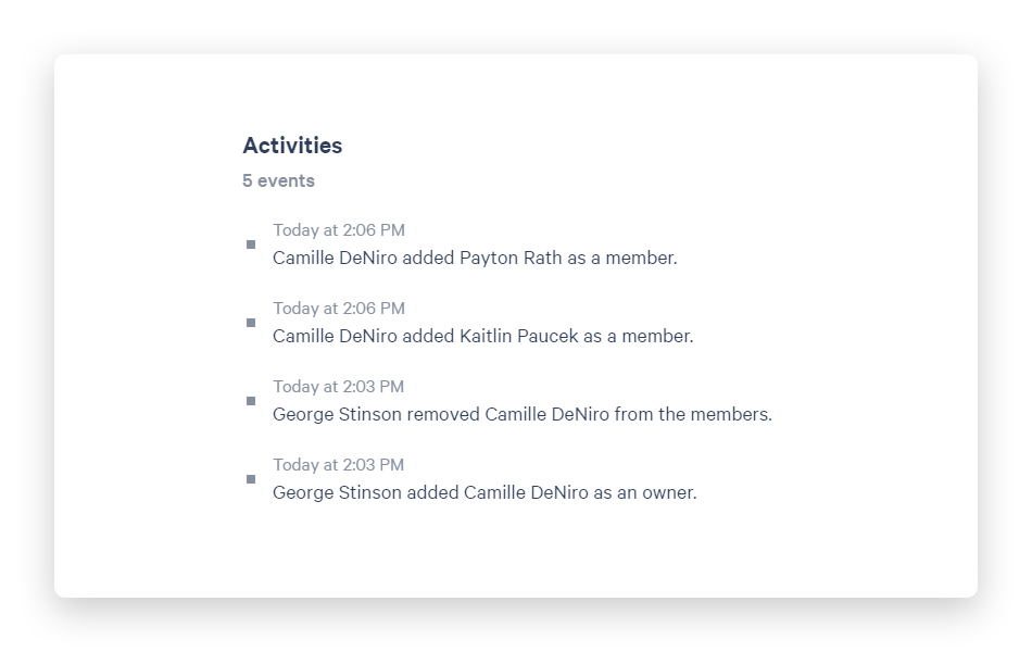 See changes to group membership in Activity tab