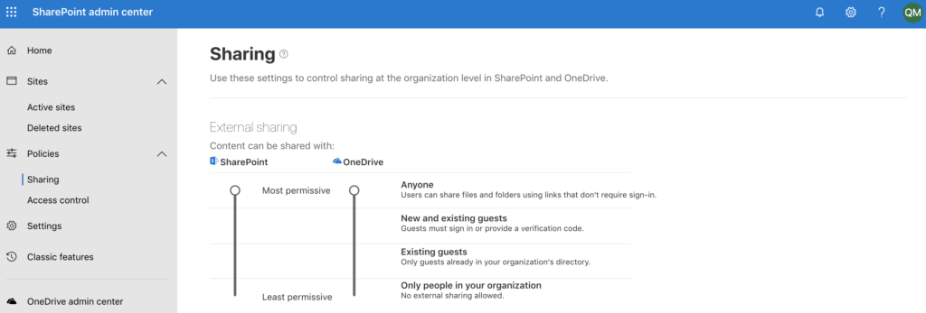 Configure external sharing in the admin center