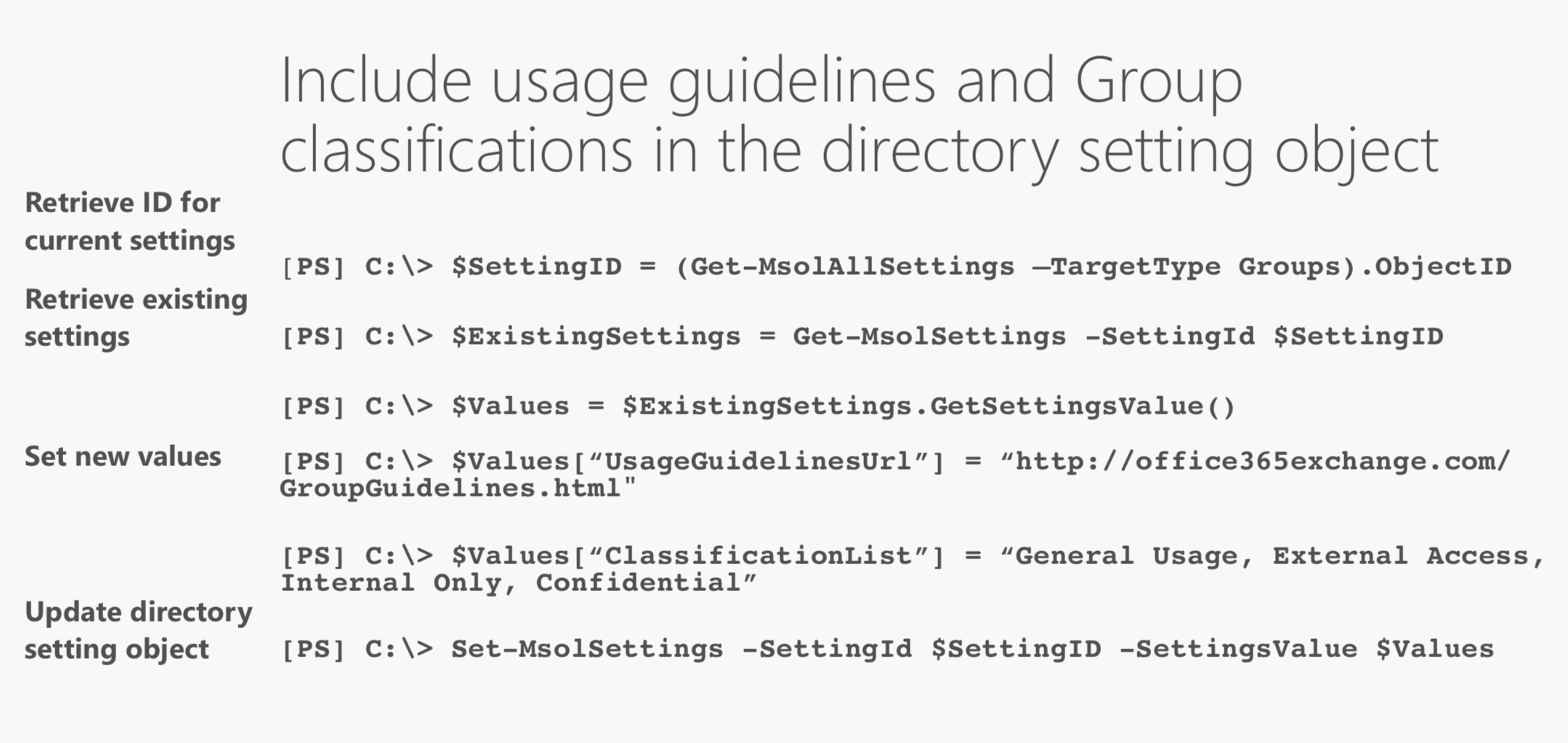 Include usage guidelines and Group classifications in the directory setting object.