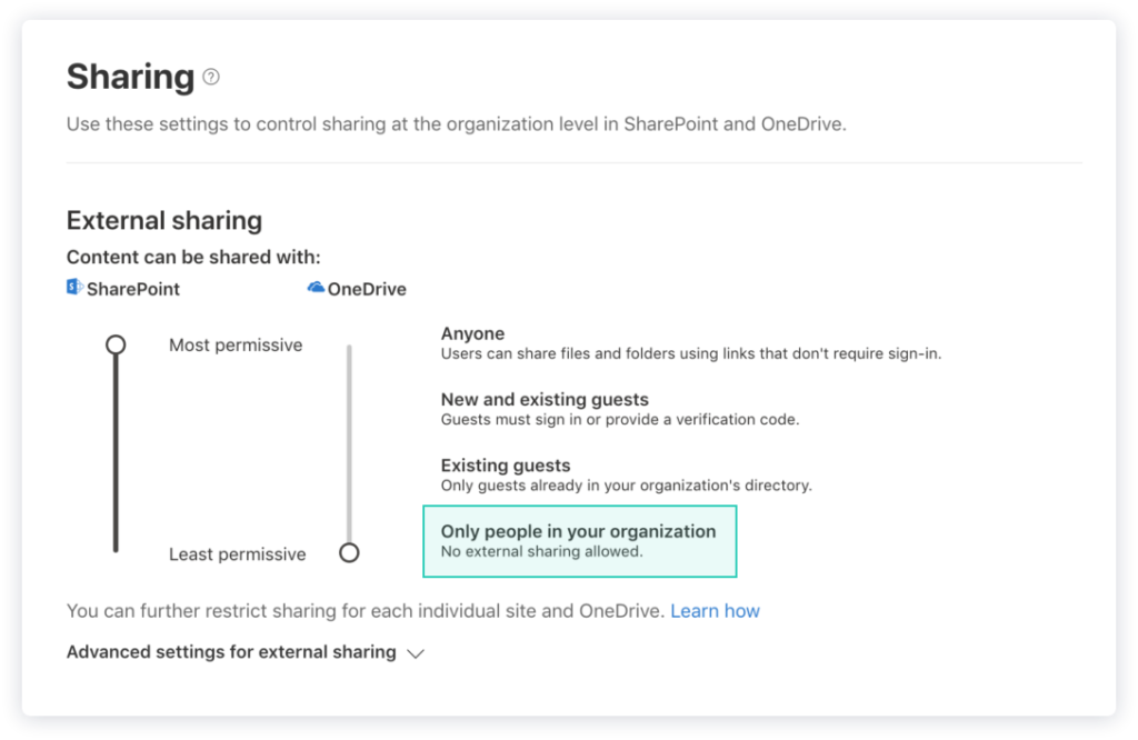 image of external sharing settings in SharePoint admin center.
