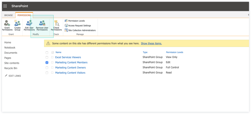 image of classic SharePoint site.