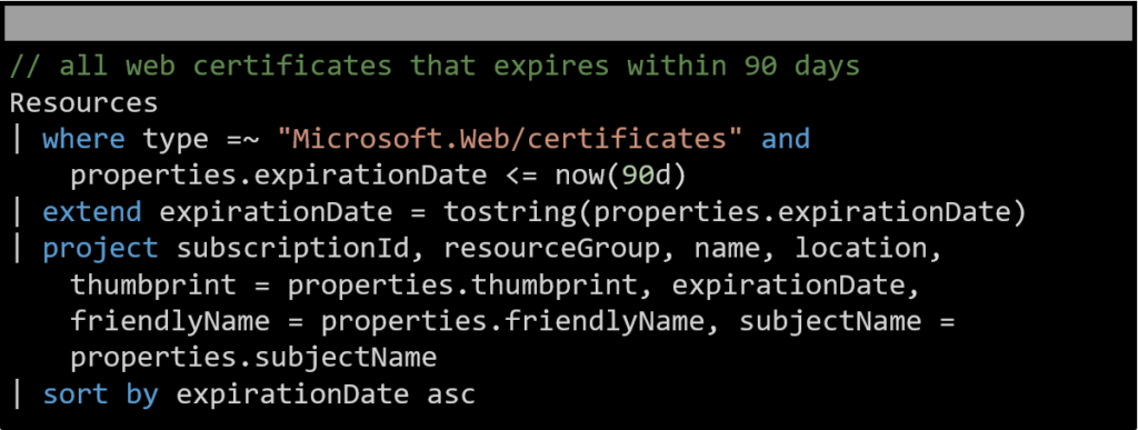 An example extend operator in an Azure Resource Graph query