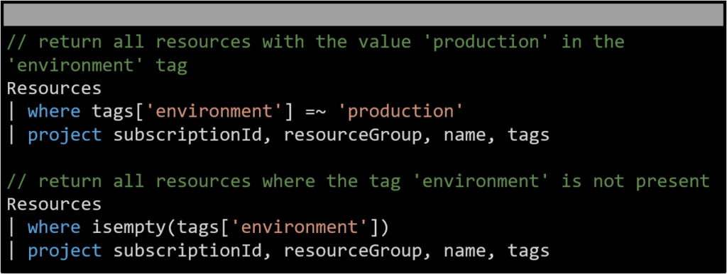 An example tag query in Azure Resource Graph