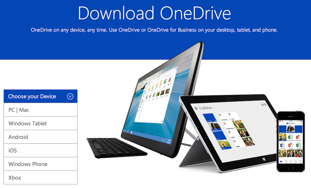 Download OneDrive on any device