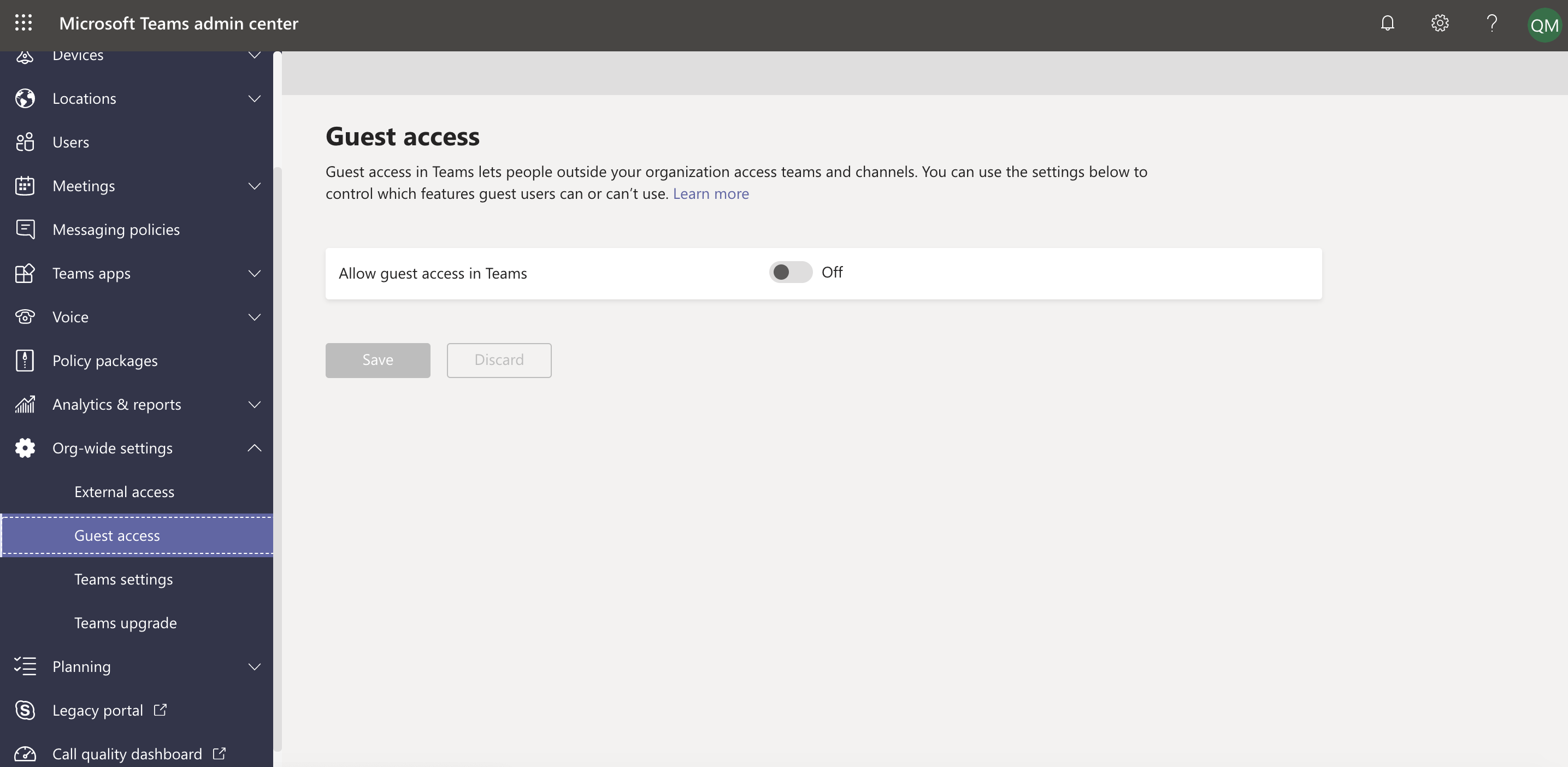 Select guest access under Org-wide settings