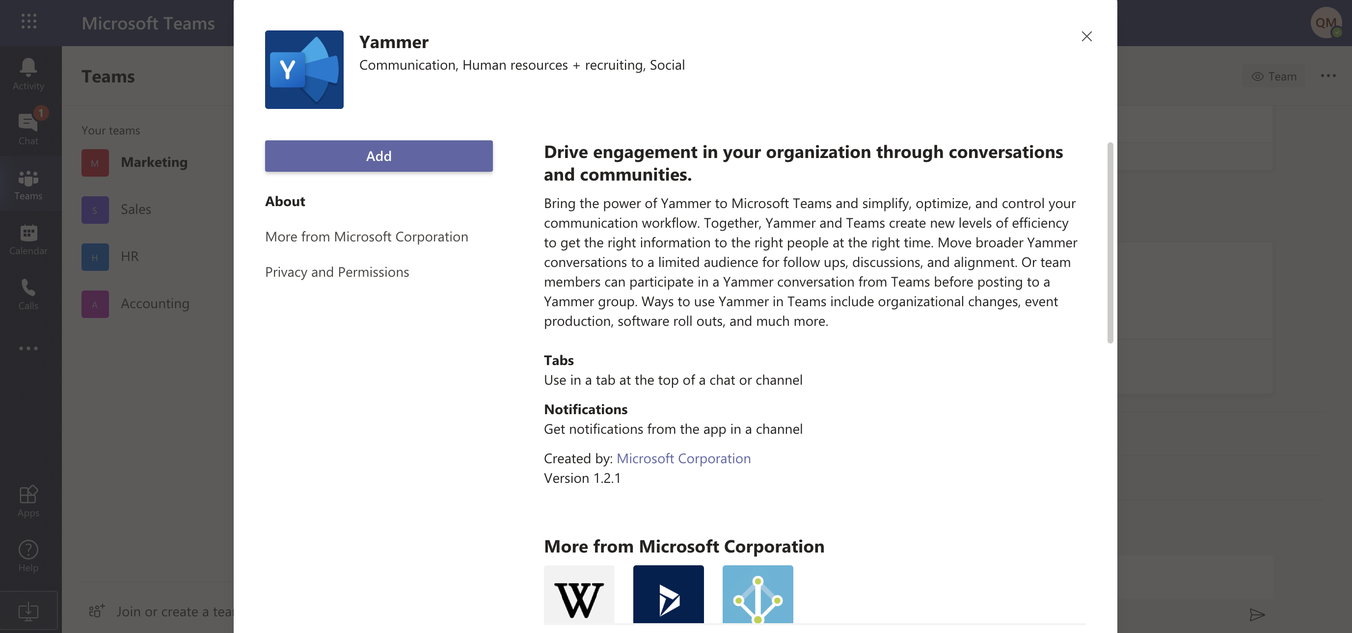 Search for Yammer, then click Add.