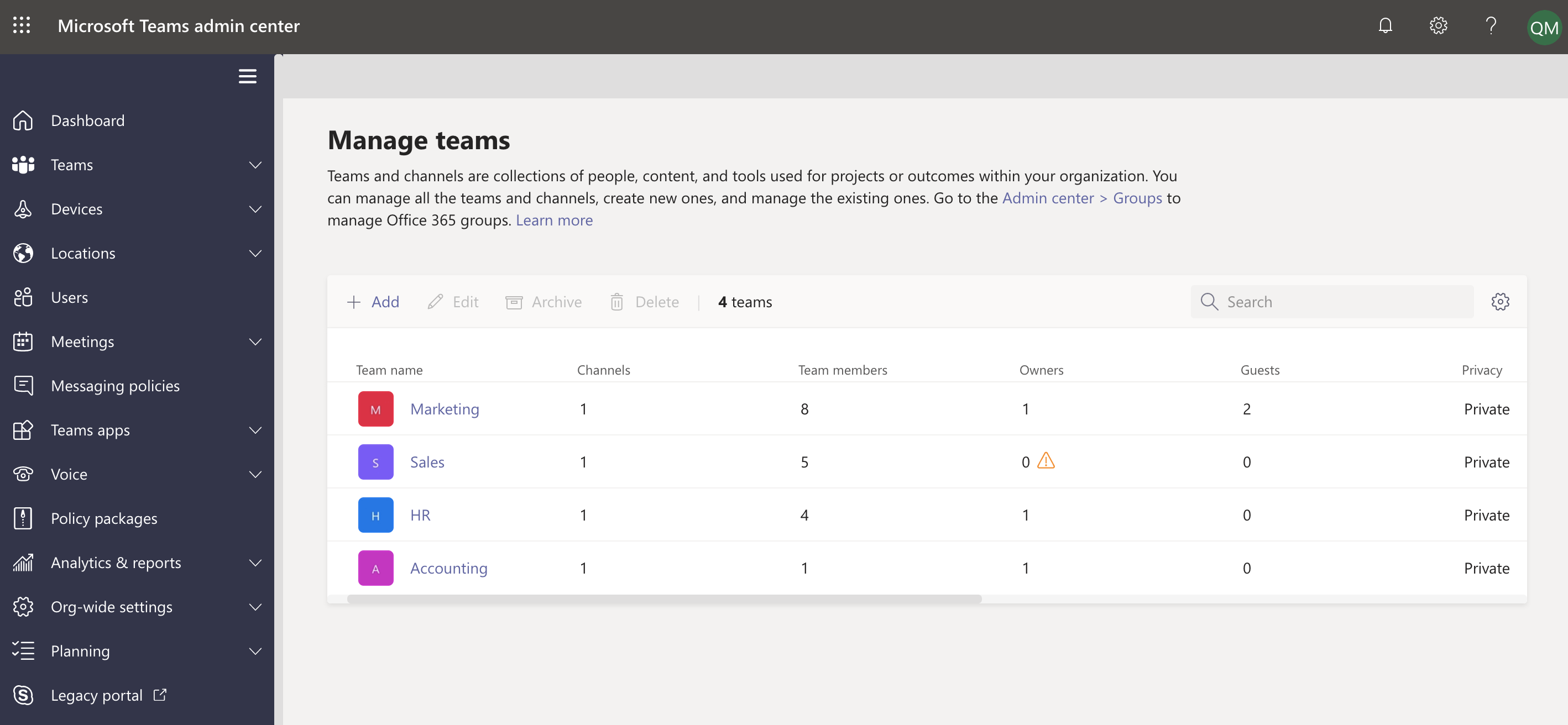 See which teams are ownerless in the Microsoft Teams admin center.