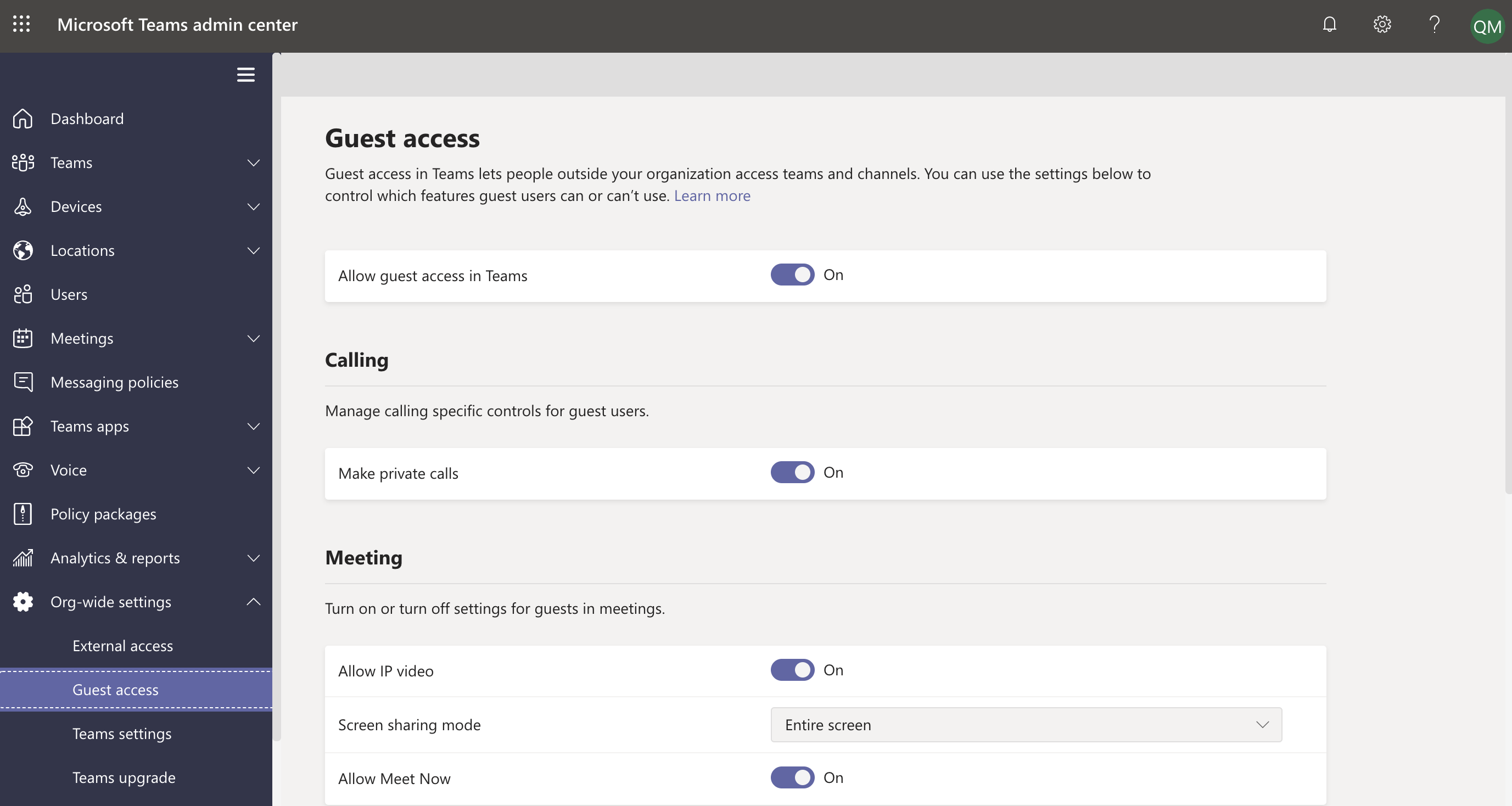 Configure guest access settings in Teams admin center.