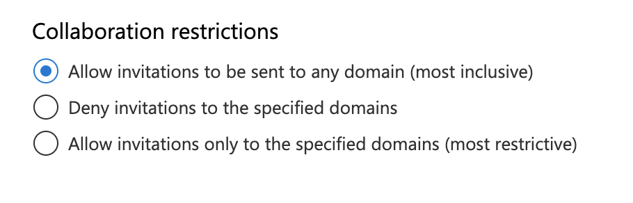 Collaboration restrictions settings in Azure AD.