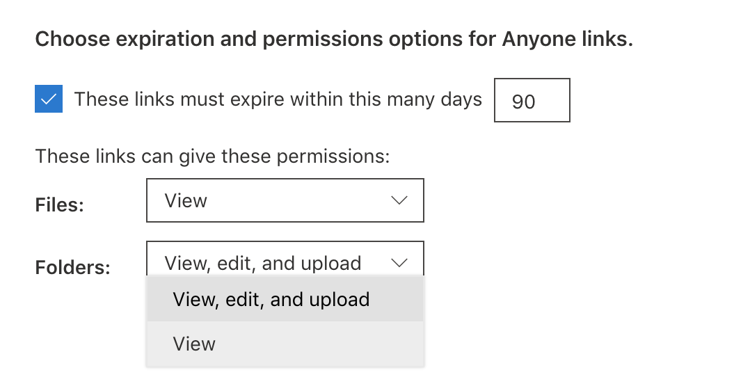 Additional settings for Anyone links.
