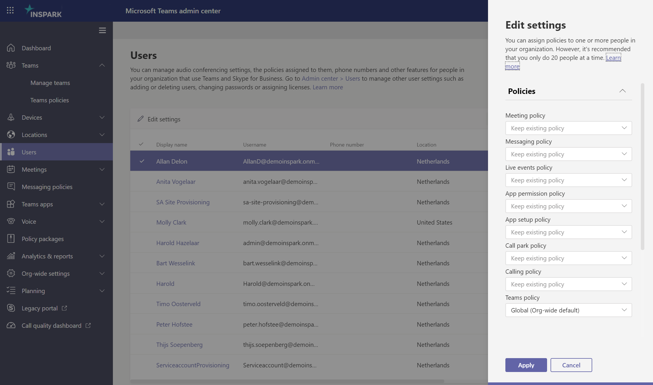Policies you can apply in the Microsoft Teams admin center.