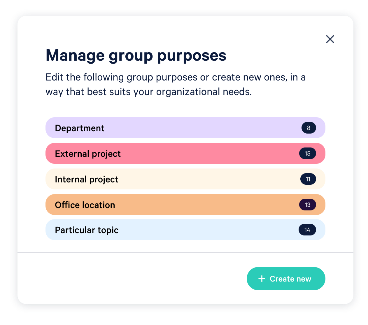 Manage how you want to categorize your teams and groups.