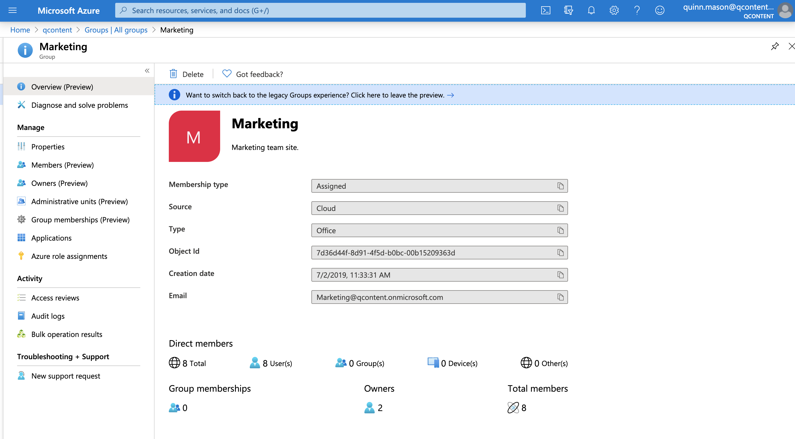 Group settings in Azure AD.