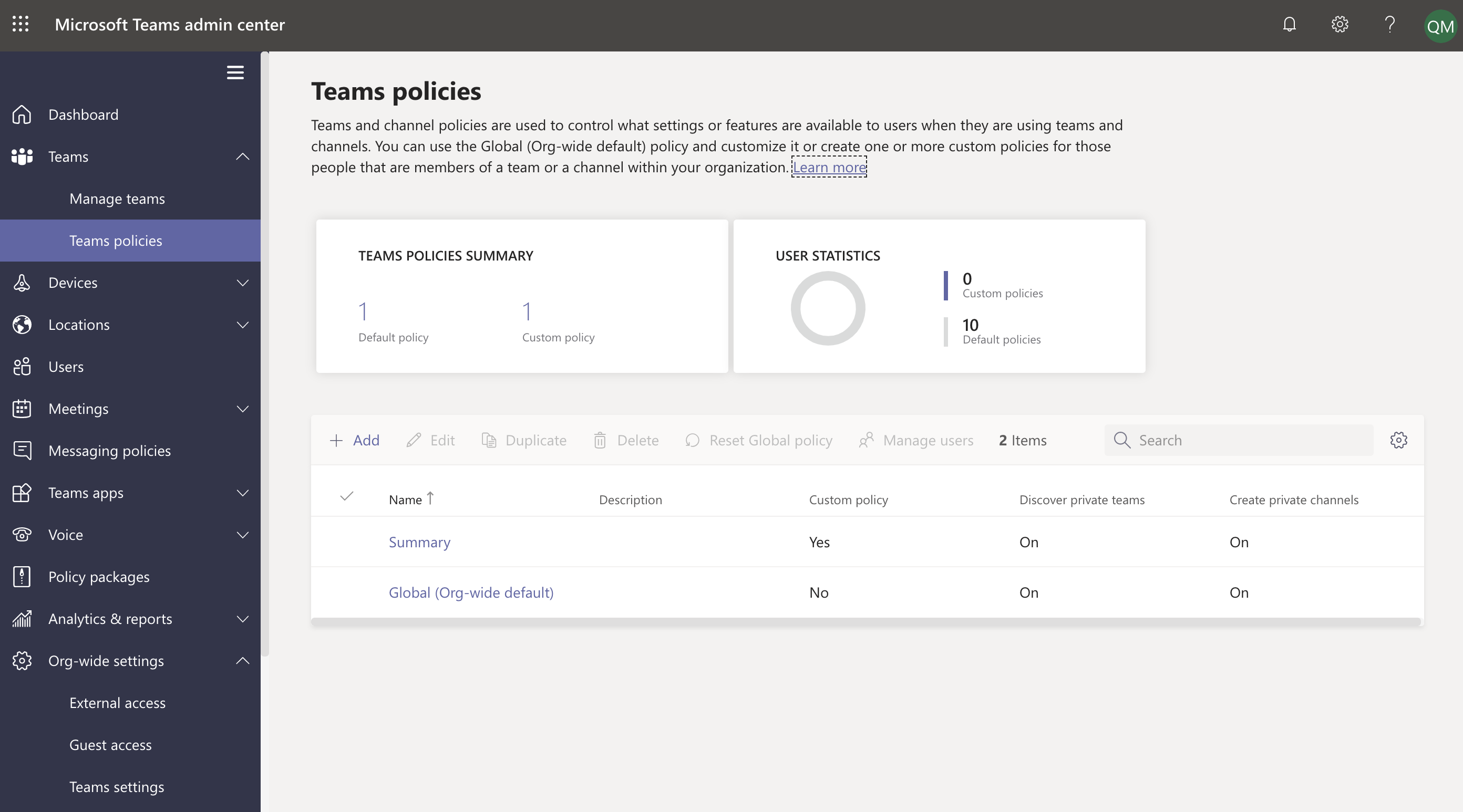 Teams policies in Teams admin center.