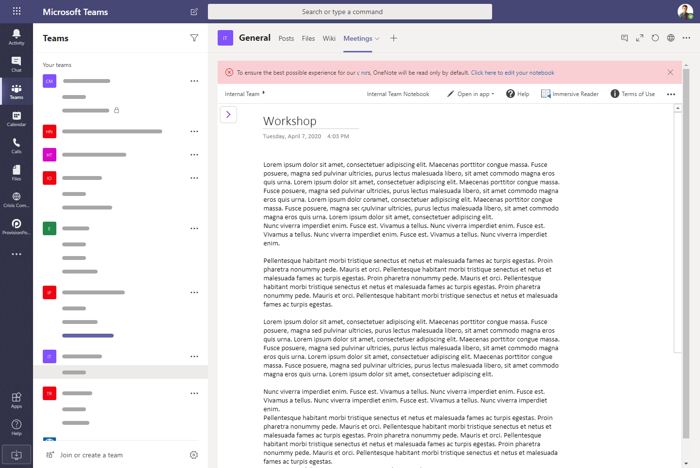 OneNote is read-only in Teams by default.