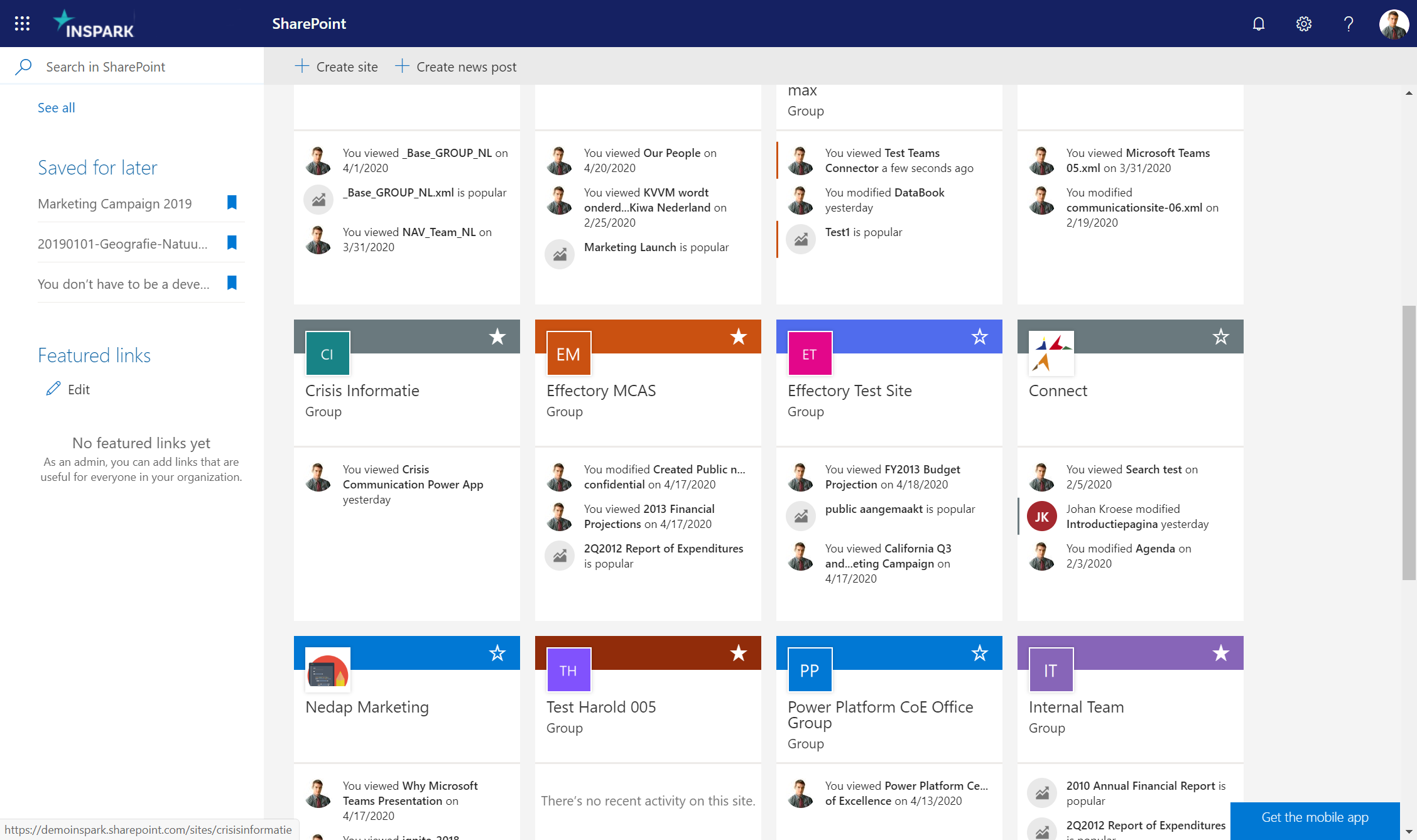 News pages displayed on SharePOint start page.