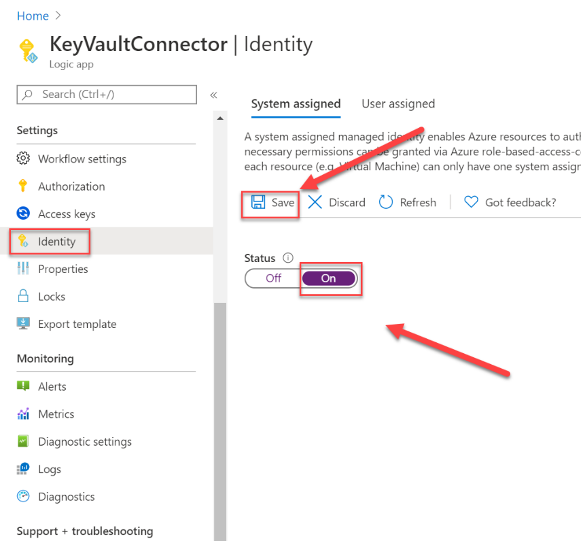 Creating a managed identity for Azure Logic App