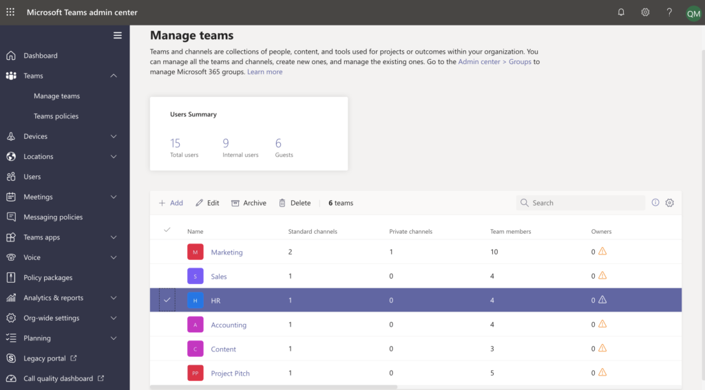 Teams in destination Teams admin center.