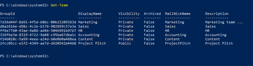 Get-Team PowerShell command.