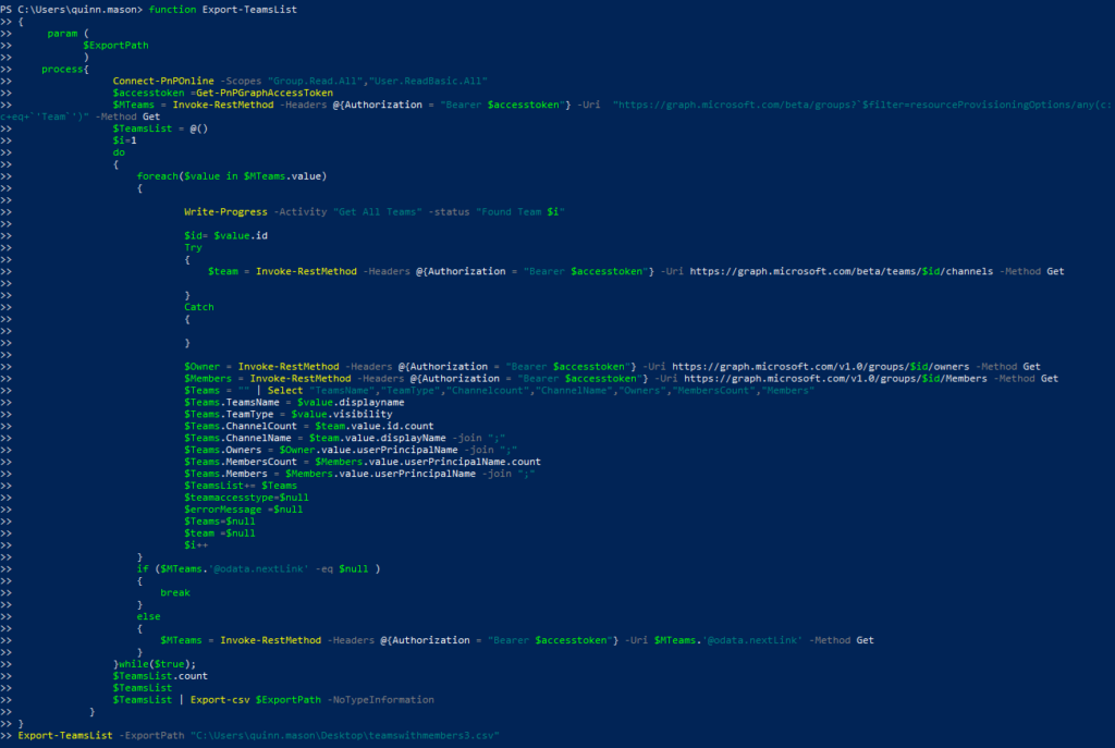 Running the modified script in PowerShell.