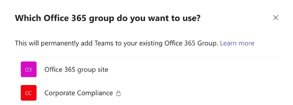 Which Office 365 group do you want to use?