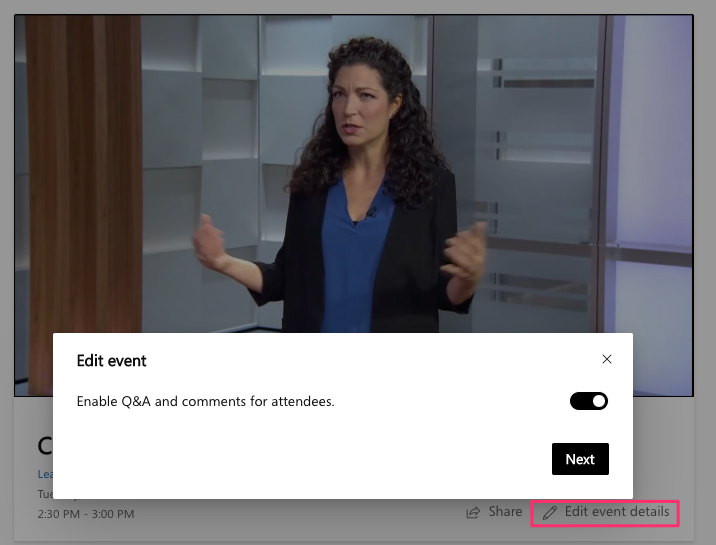 image of edit event toggle in yammer