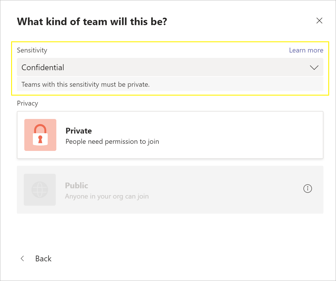 Privacy Setting New Team