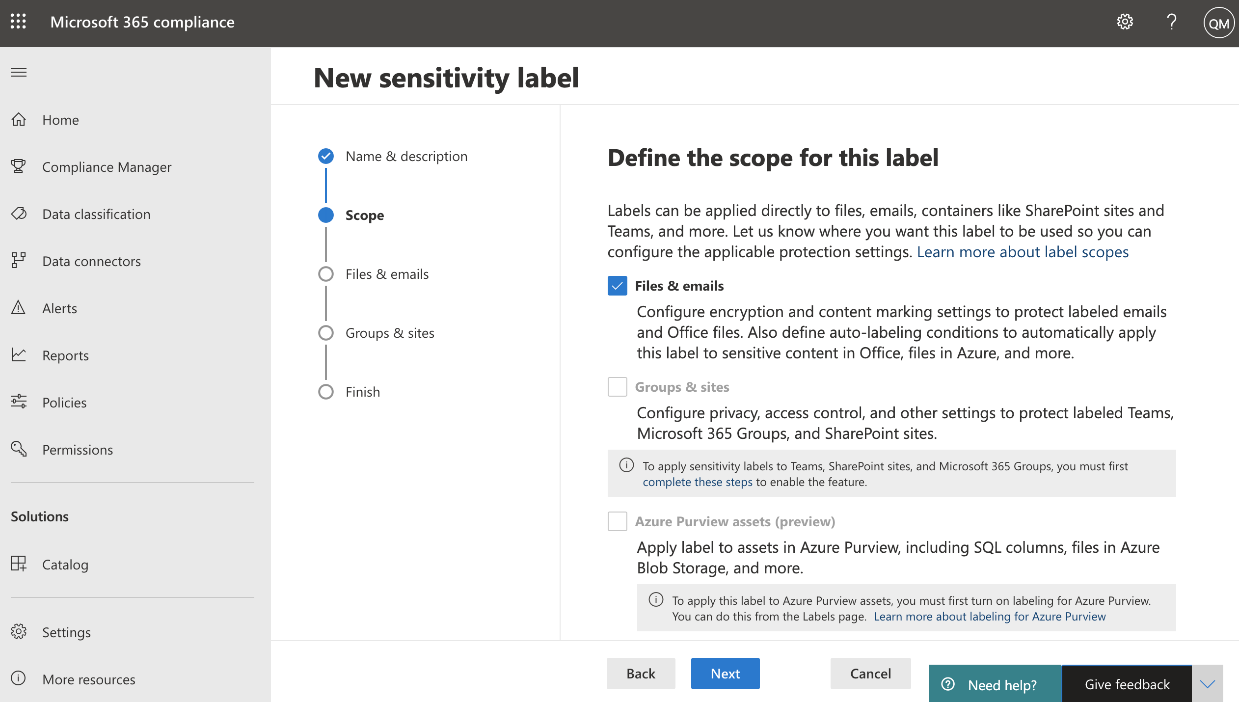 image of sensitivity label settings in Microsoft 365 compliance center
