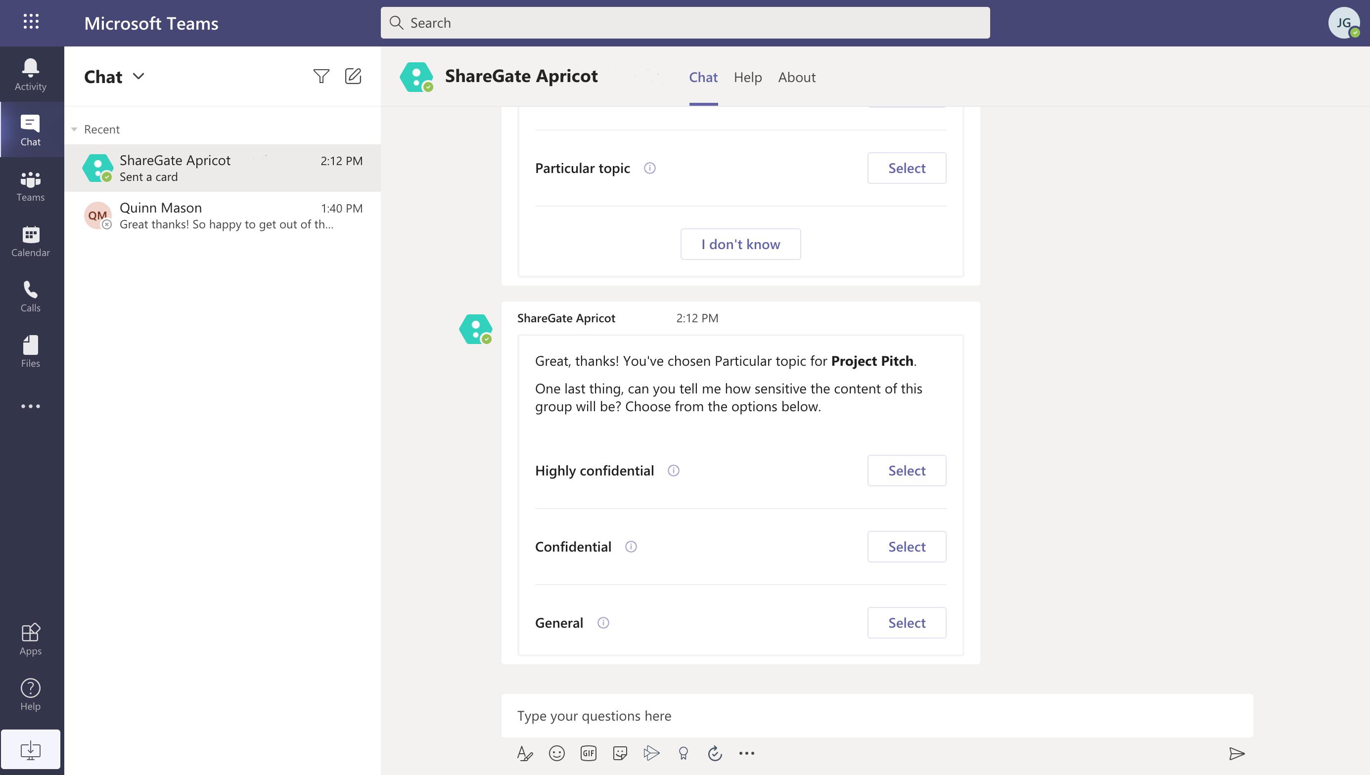 Screenshot of bot conversation in Teams.