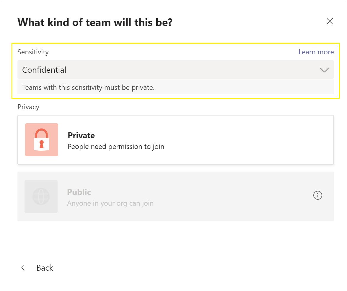 Screenshot of sensitivity label when creating new team.