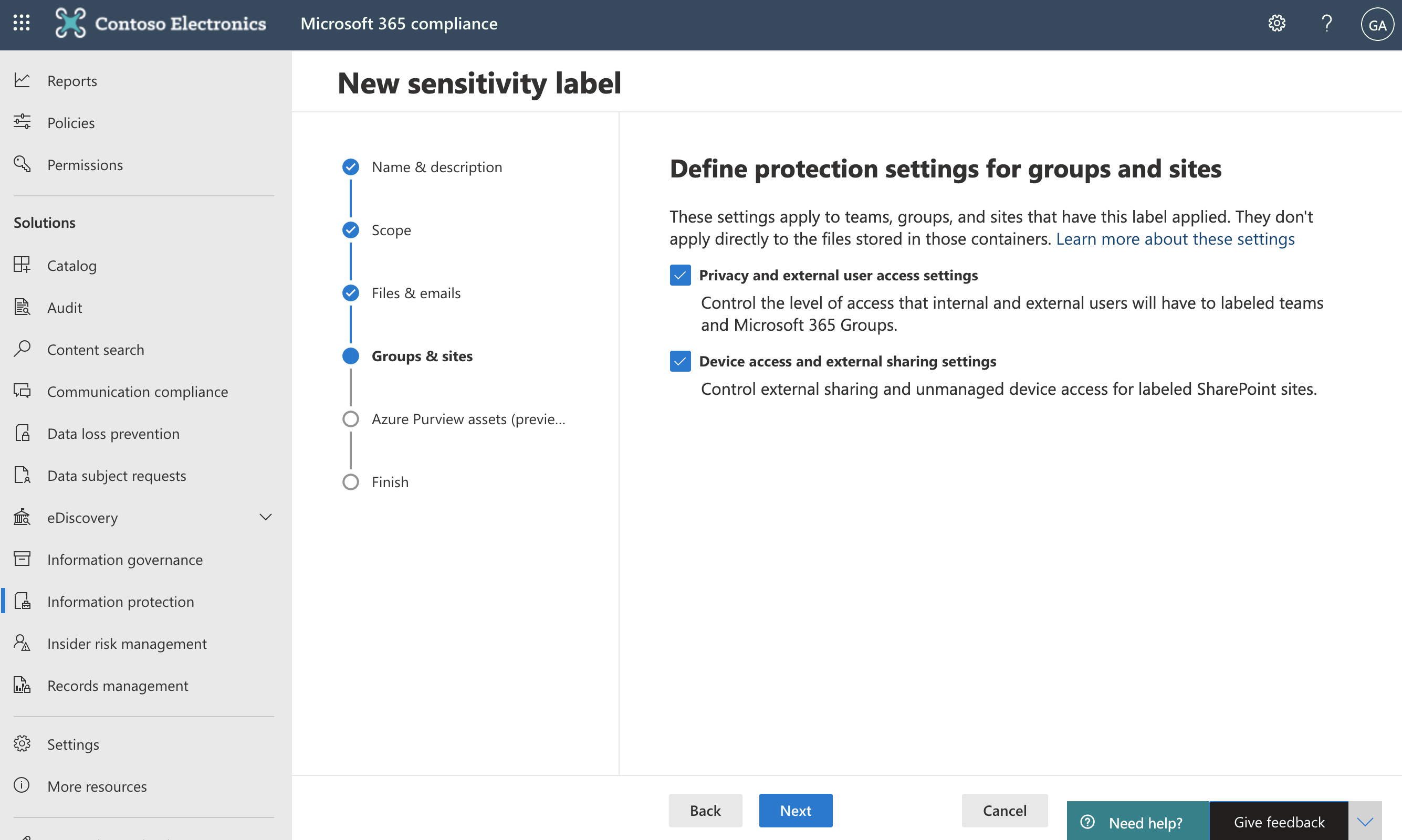 Screenshot of Define protection settings for groups and sites page.