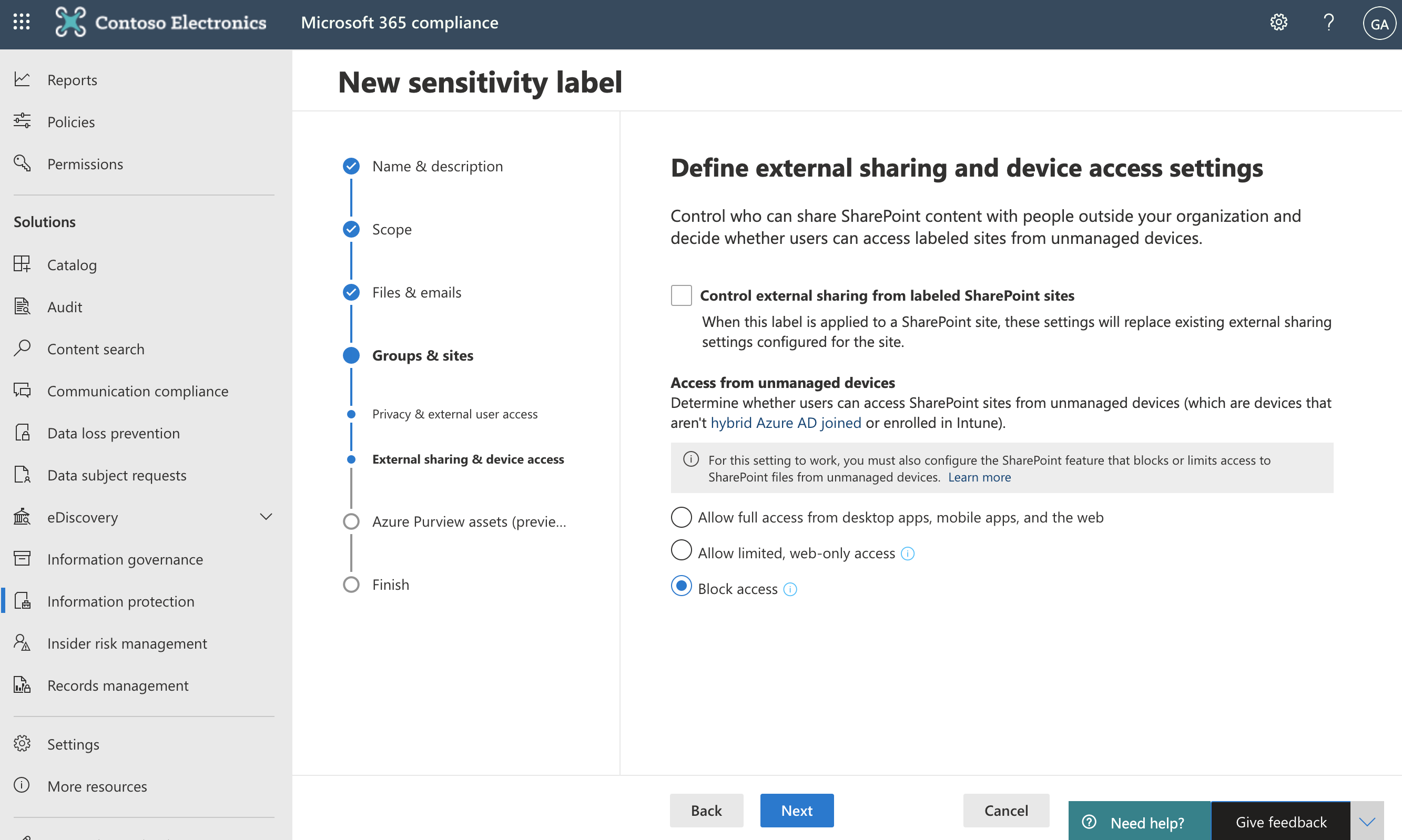 Screenshot of Define external sharing and device access settings page.