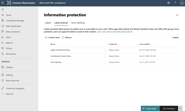 Screenshot of label policies tab.