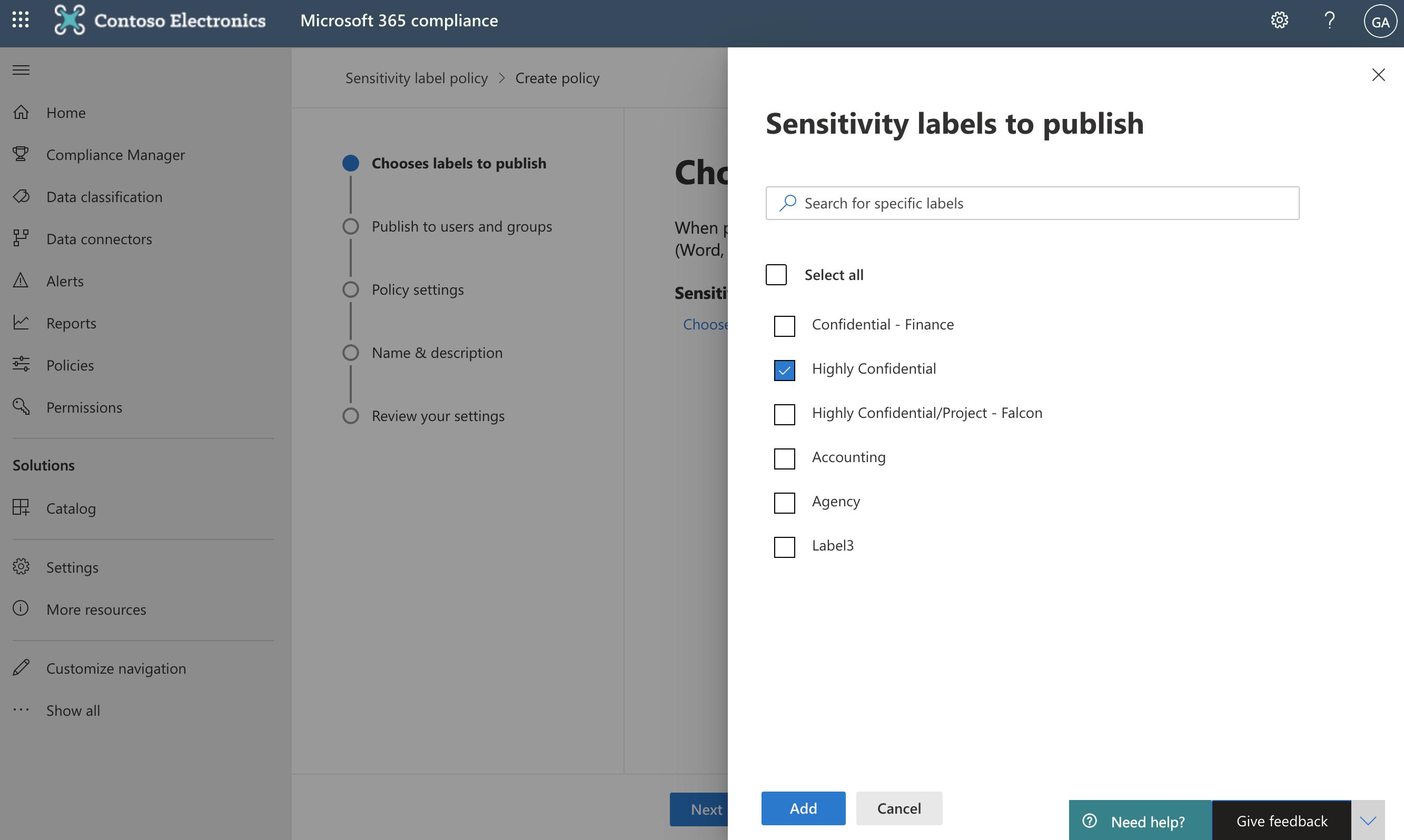 Screenshot of Sensitivity labels to publish screen.