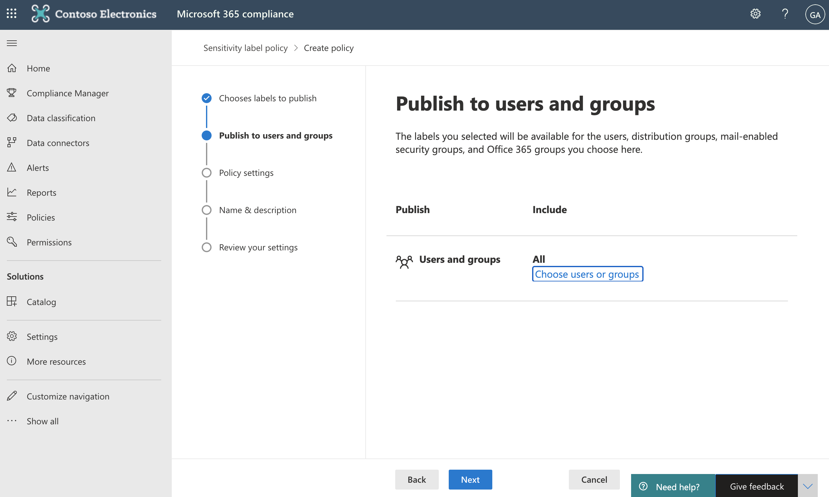 Screenshot of Publish to users and groups page.