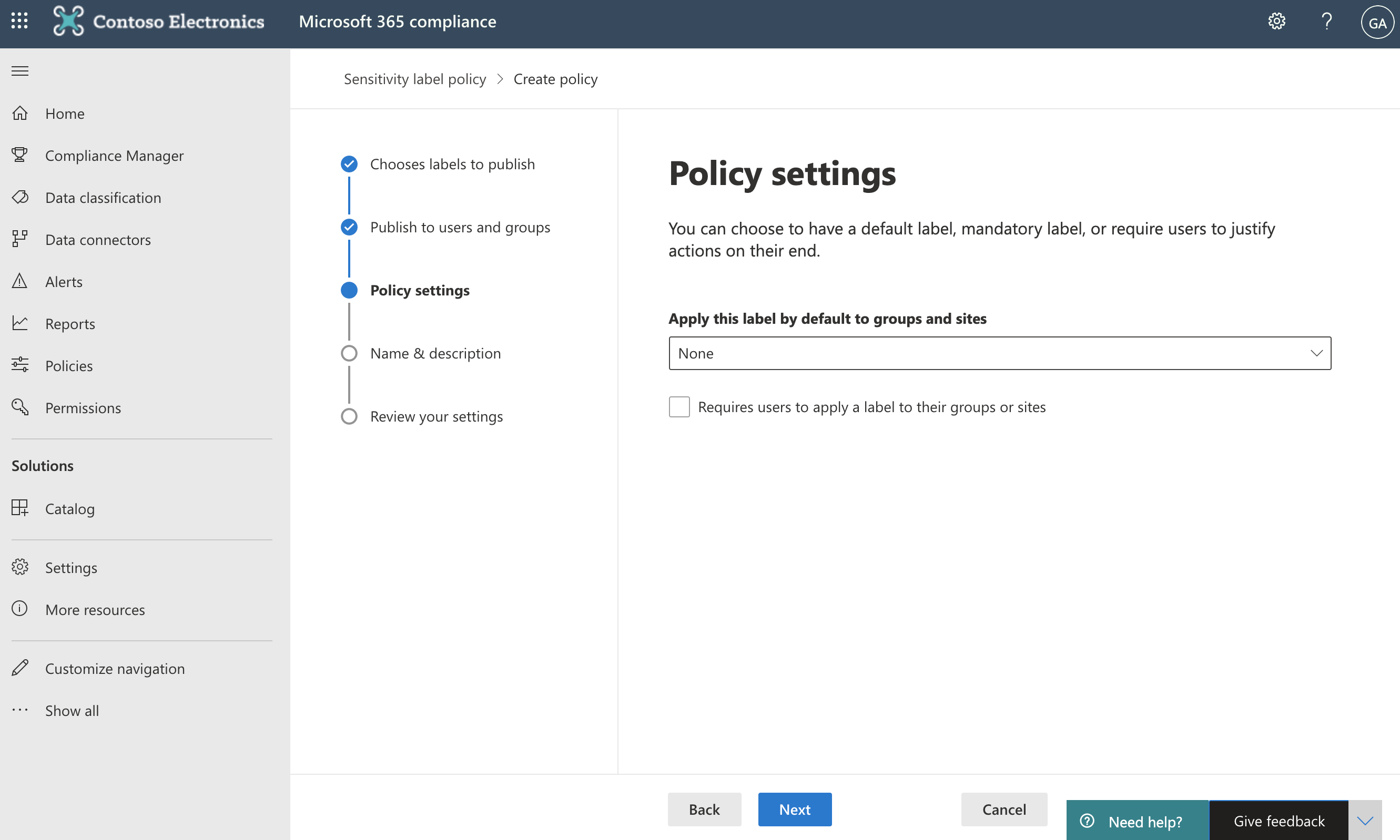 Screenshot of Policy settings page.