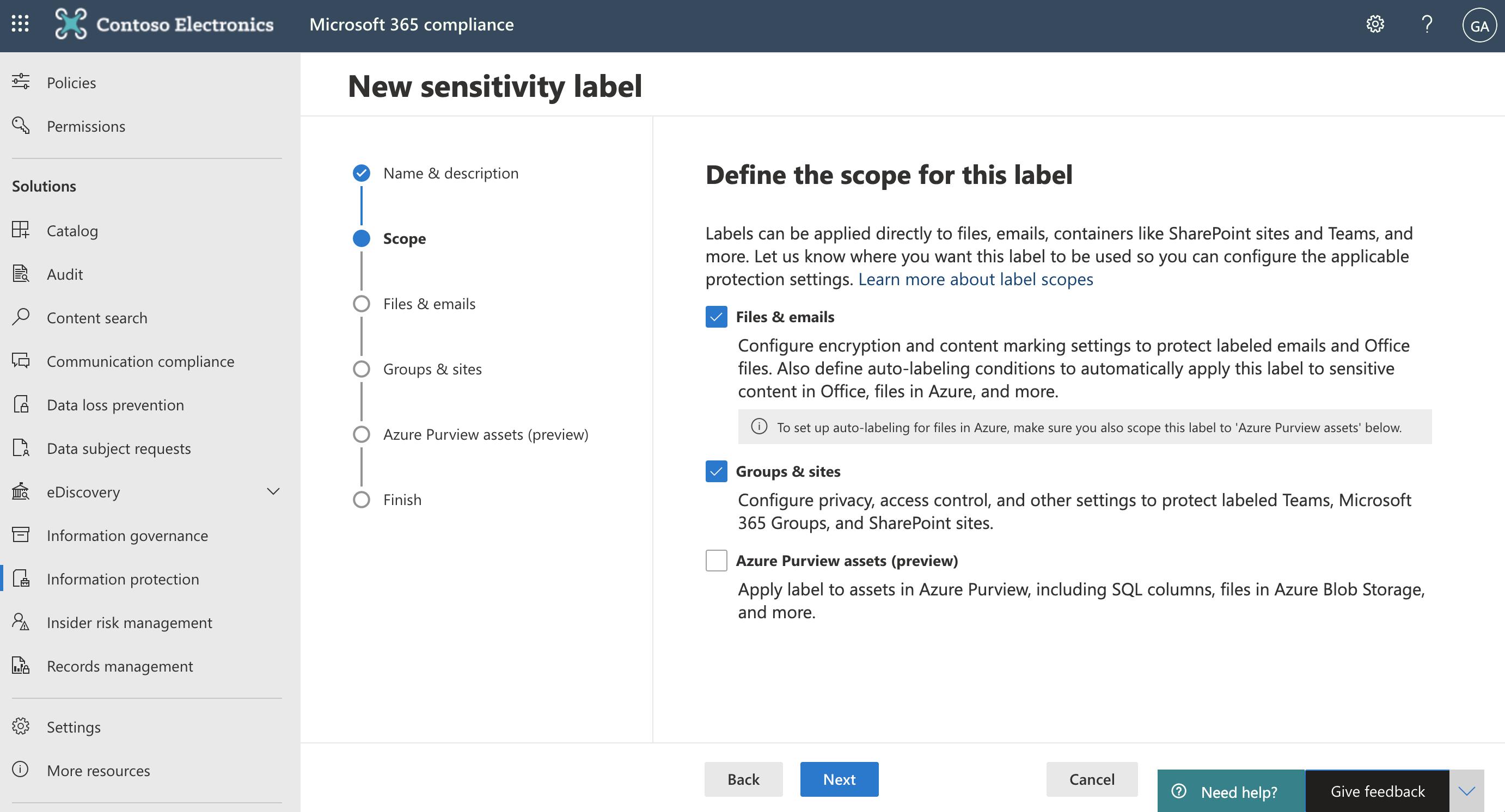 Screenshot of Groups & sites settings.