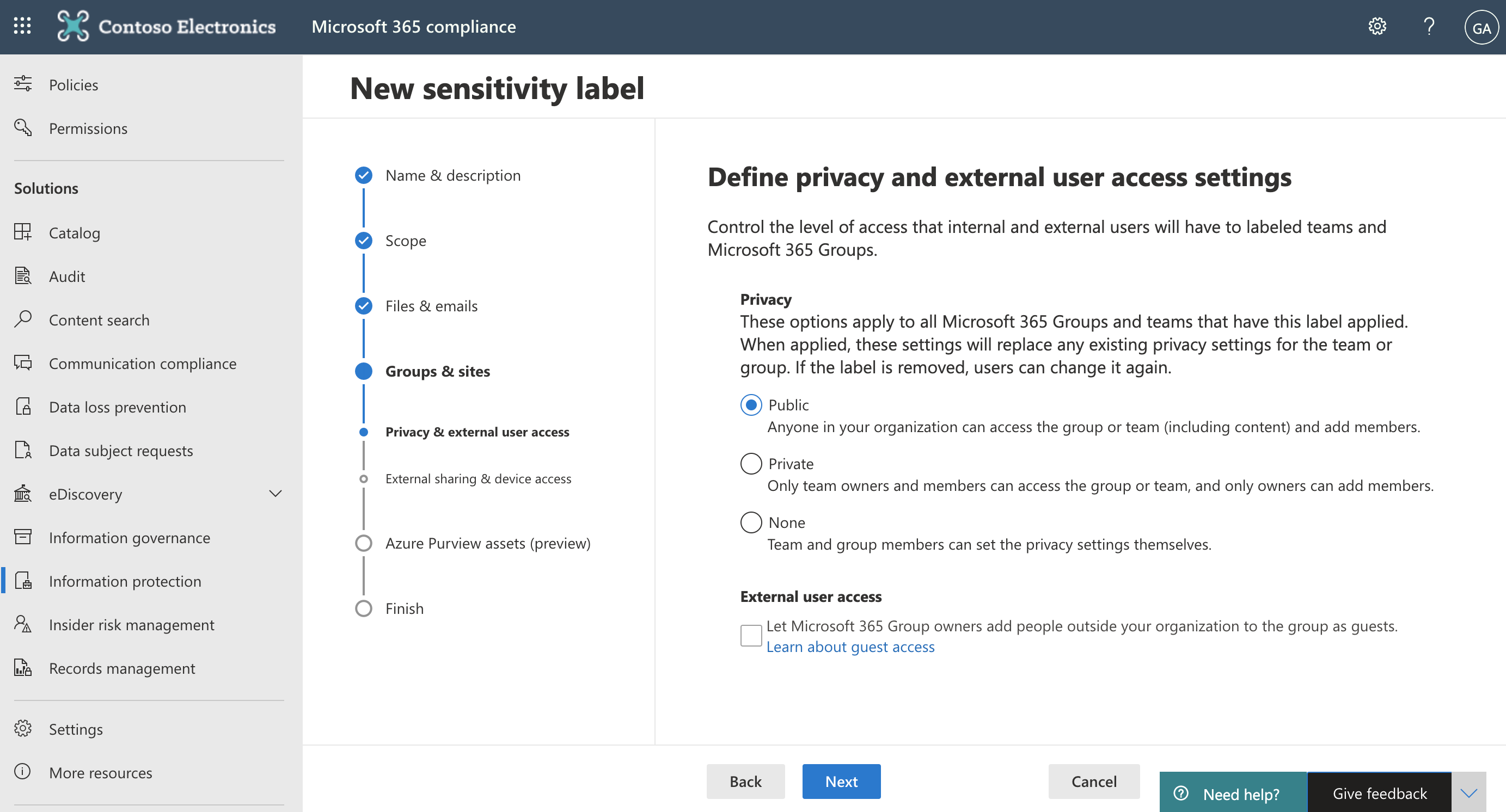 Screenshot of Define privacy and external user access settings in tthe Microsoft 365 compliance center.