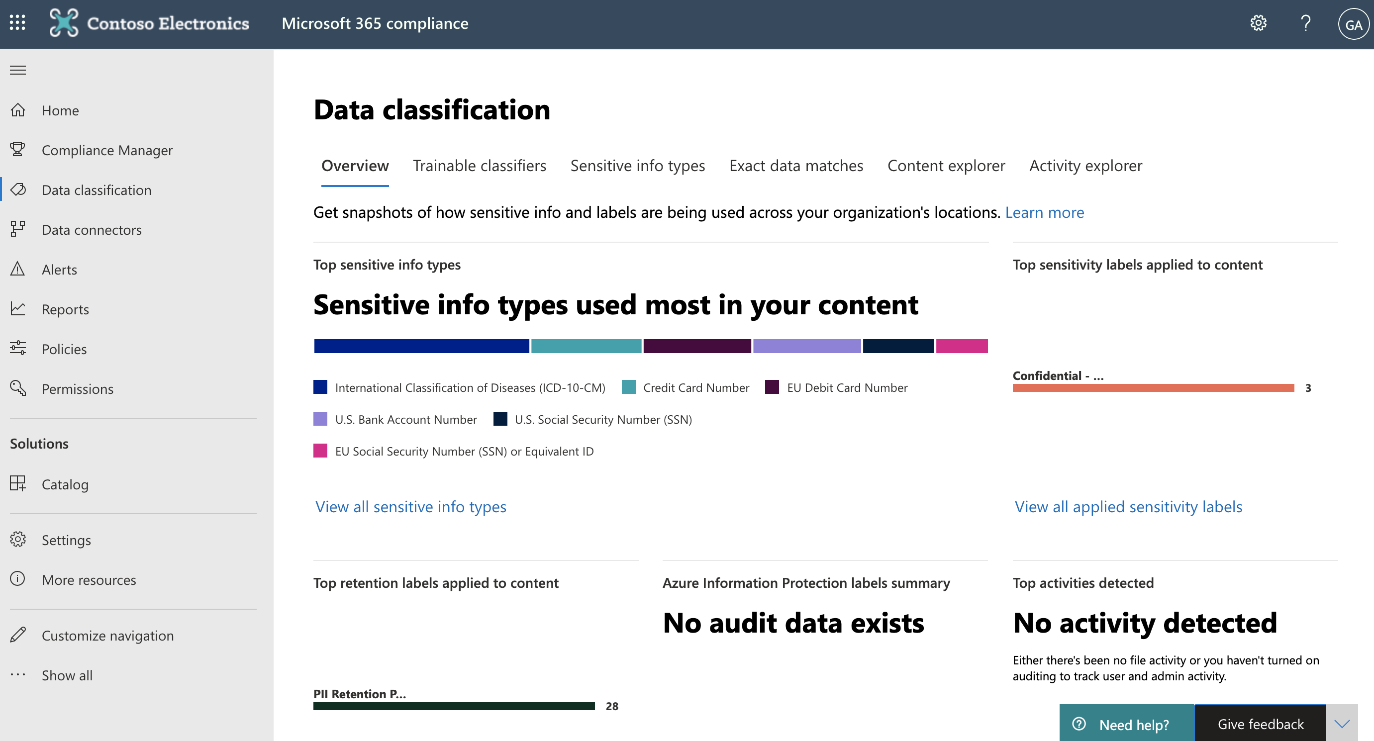 Screenshot of the Data classification page in the Microsoft 365 compliance center.