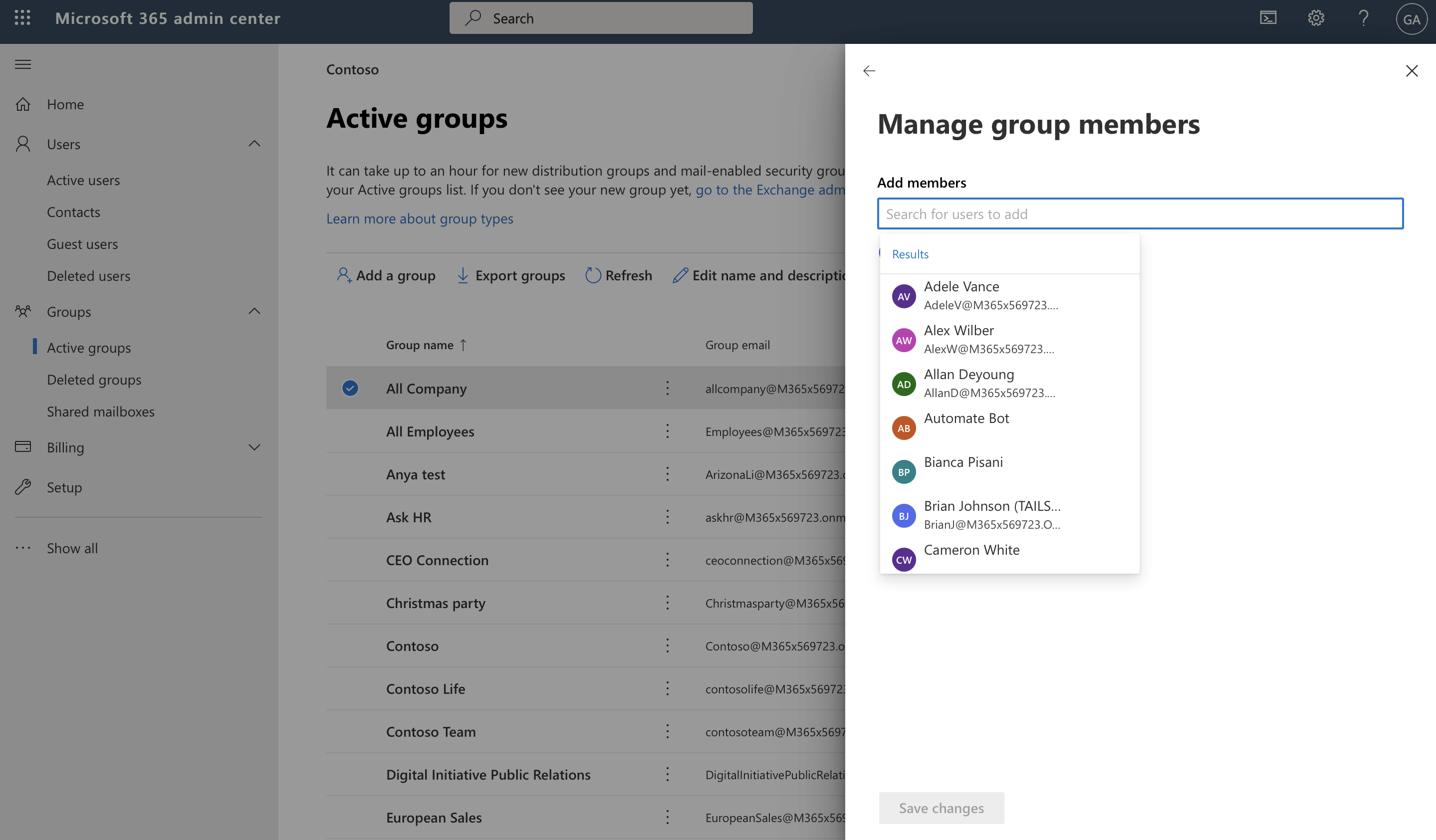 Screenshot of user adding members to a group in Microsoft 365 admin center