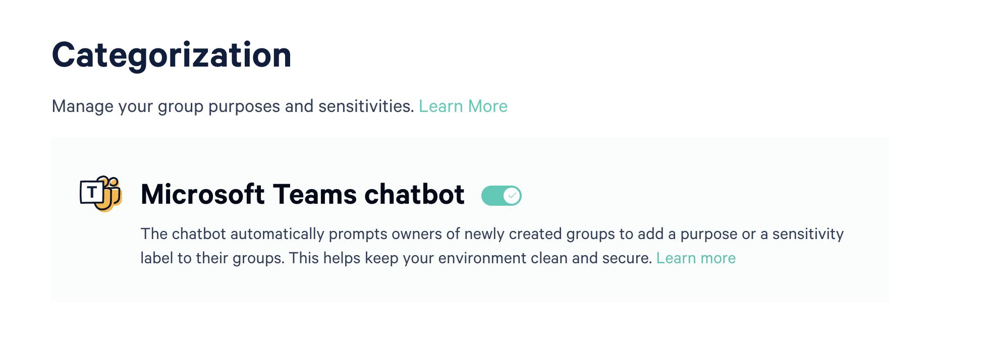 Screenshot of toggle to activate Microsoft Teams chatbot.