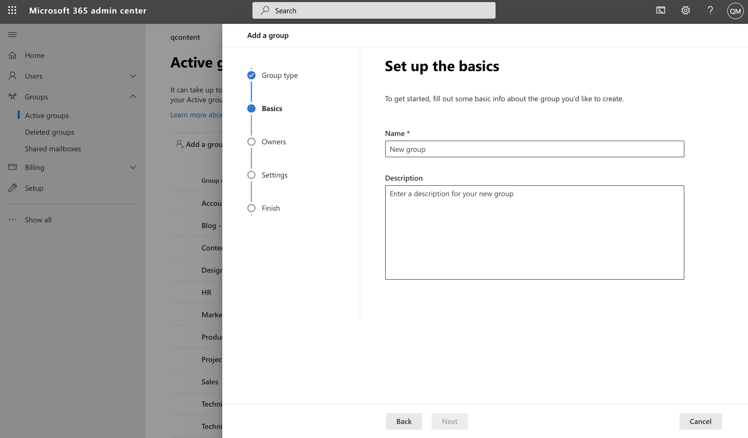Screenshot of user setting group name and description in Microsoft admin center