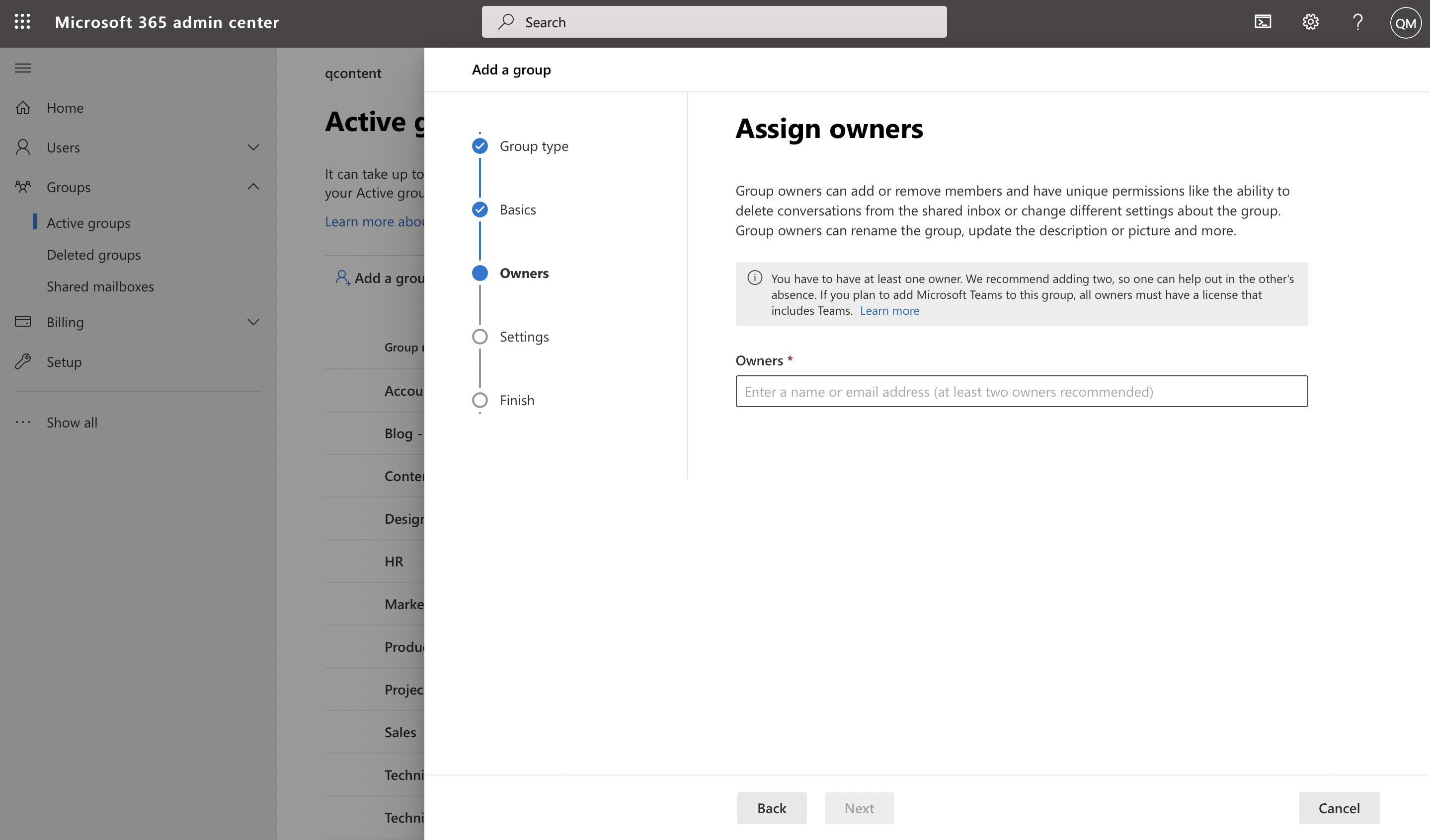 Screenshot of user assigning group owners in Microsoft admin center