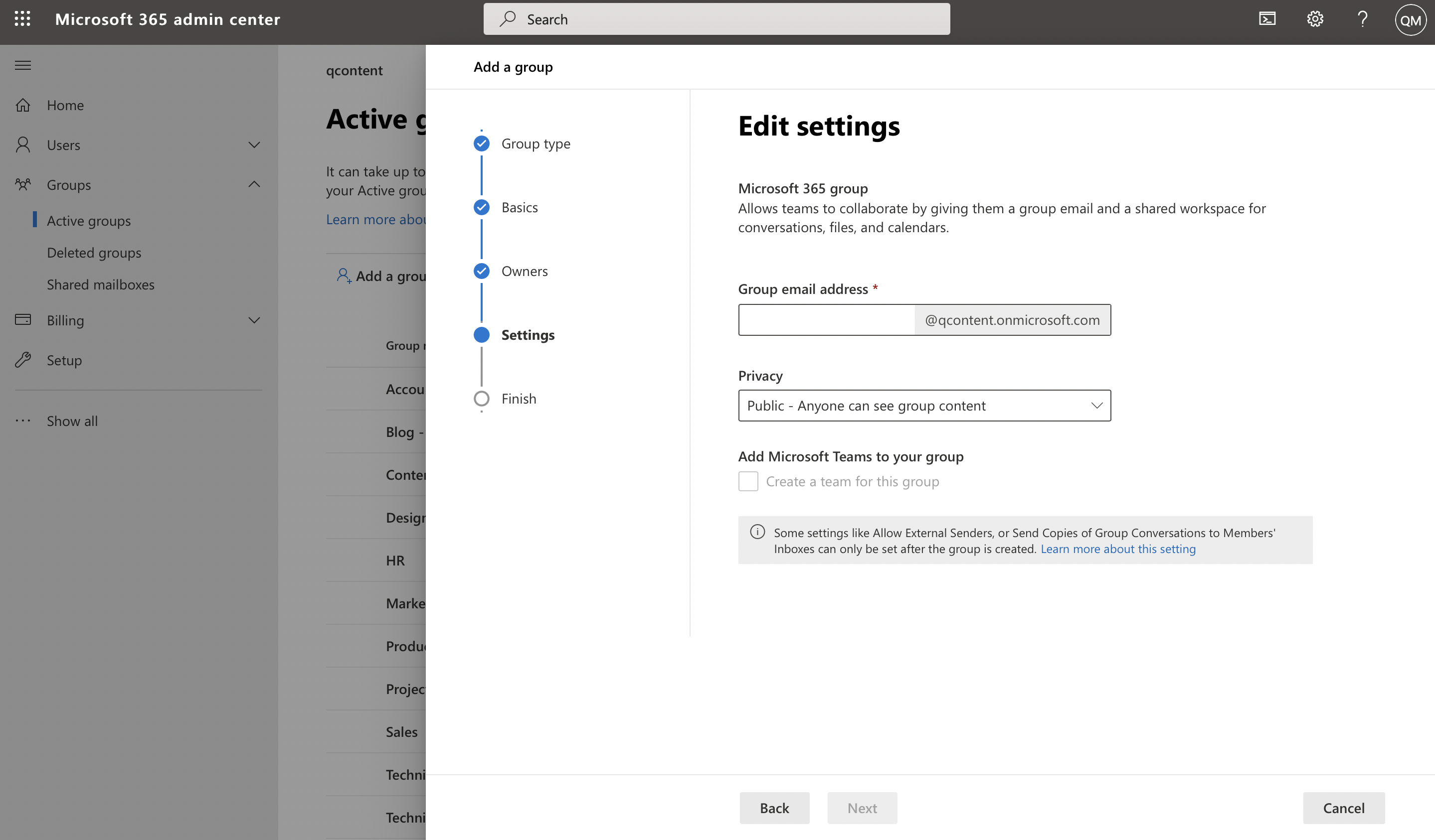 Screenshot of user setting group email address and privacy settings in Microsoft admin center