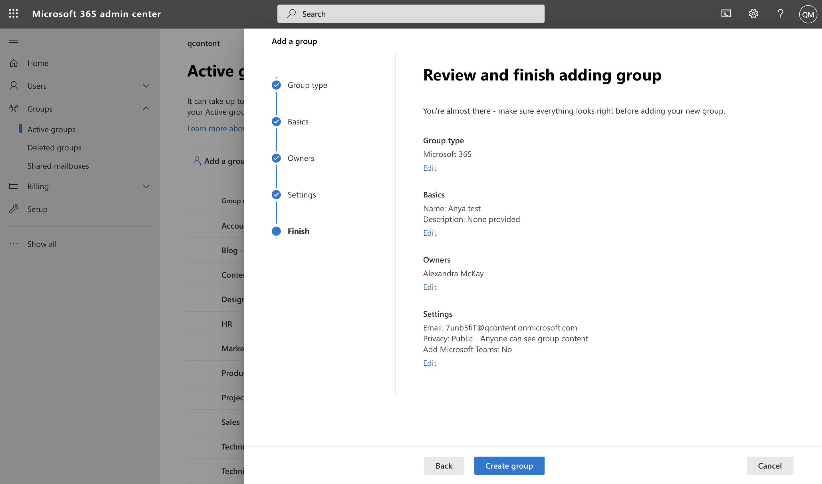 Screenshot of user reviewing group info in Microsoft admin center